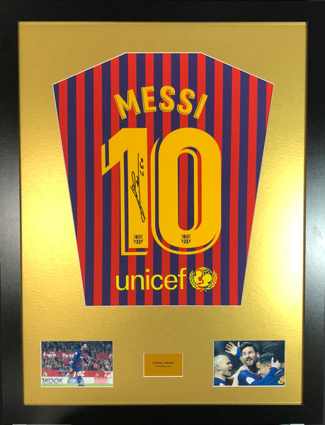 Lionel Messi 2019 Barcelona Signed Shirt Display With COA with Ronaldo 2019 Juventus Shirt Display - Kicking The Balls