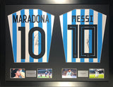 Messi and Maradona Argentina Signed Shirt Display with COA - Kicking The Balls