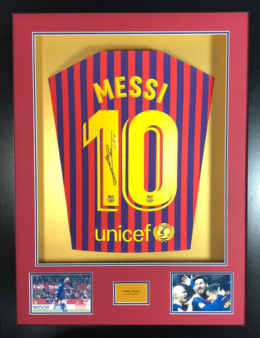 120842070 Lionel Messi Barcelona 2019 Signed Shirt 3D Display With COA