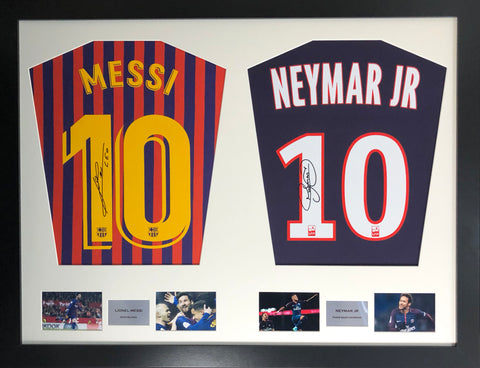 Messi and Neymar Signed Shirt Display with COA - Kicking The Balls
