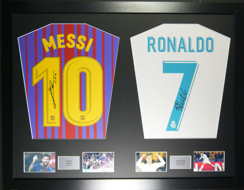 Messi and Ronaldo Signed Shirt Display with COA - Kicking The Balls