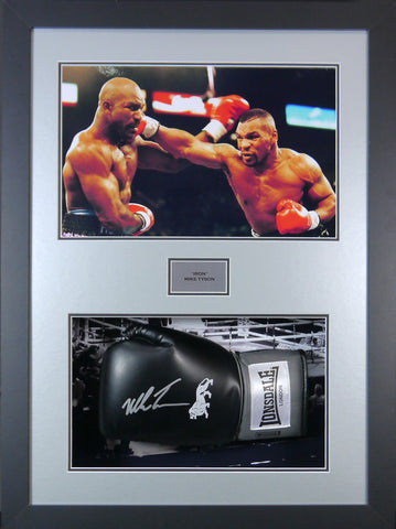 Mike Tyson Signed Boxing Glove 3D Display with COA - Kicking The Balls