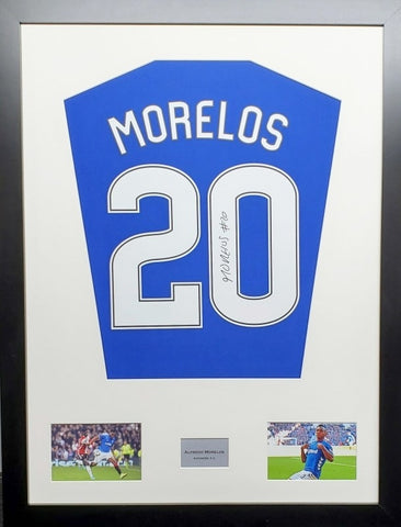 Alfredo Morelos Rangers Signed Shirt Display With COA - Kicking The Balls