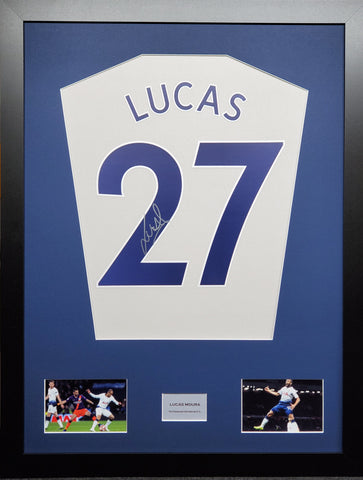 Lucas Moura Tottenham Hotspur signed shirt display with COA