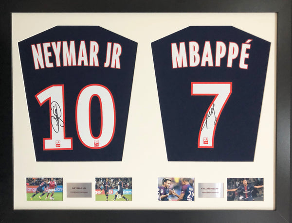 Neymar and Mbappe PSG Signed Shirt Display with COA - Kicking The Balls