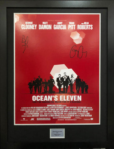 Oceans 11 Brad Pitt, George Clooney Signed Movie Poster with COA