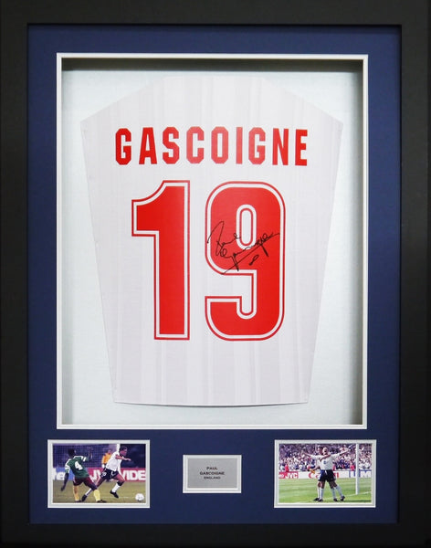 Paul Gascoigne England Signed Shirt 3D Display with COA - Kicking The Balls