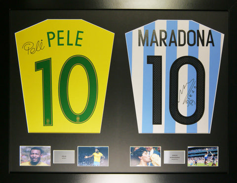 Pele and Maradona Signed Shirt Display with COA - Kicking The Balls