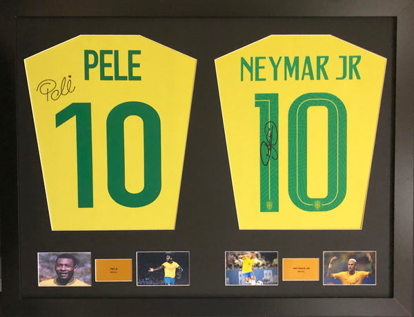 Pele and  Neymar Brazil Signed Shirt Display with COA - Kicking The Balls