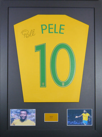 Pele Brazil Signed Shirt Display With COA - Kicking The Balls