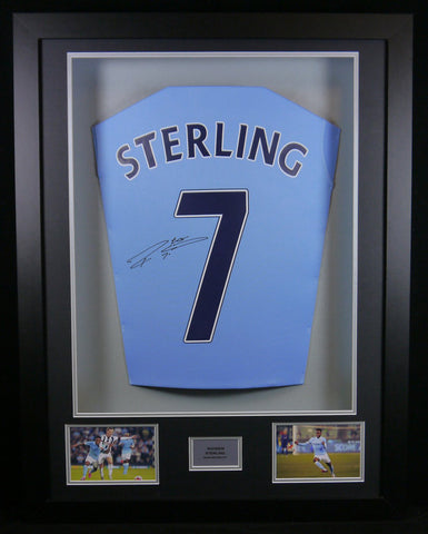 Raheem Sterling Manchester City Signed Shirt 3D Display with COA - Kicking The Balls