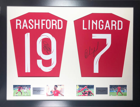 Rashford and Lingard England World Cup 2018 Signed Shirt Display with COA