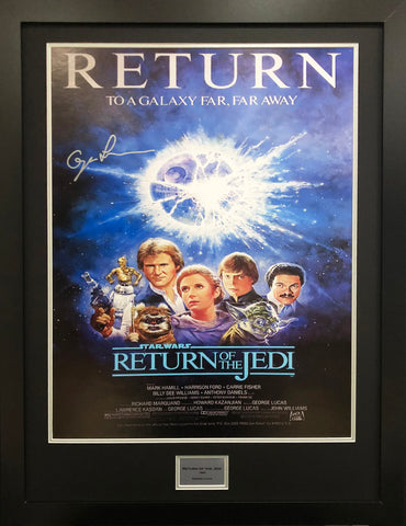 Return of the Jedi George Lucas Signed Movie Poster with COA - Kicking The Balls