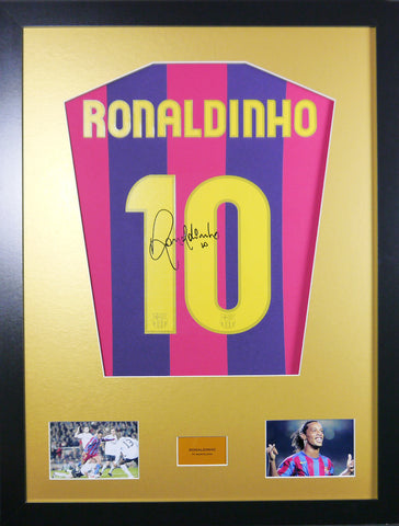 Ronaldinho Barcelona Signed Shirt Display With COA - Kicking The Balls