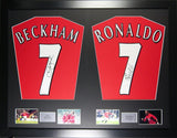 David Beckham and Cristiano Ronaldo United Signed Shirt Display with COA - Kicking The Balls