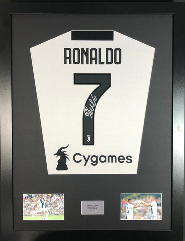 Cristiano Ronaldo Juventus Signed Shirt Display With COA - Kicking The Balls