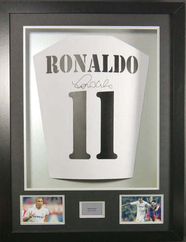 Ronaldo (Beaver) signed Real Madrid Shirt in 3D Display with COA - Kicking The Balls