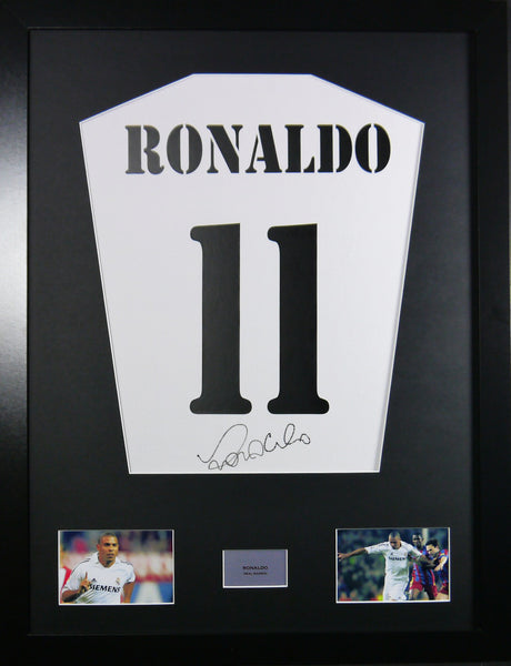 Ronaldo (Beaver) Real Madrid Signed Shirt Display With COA - Kicking The Balls