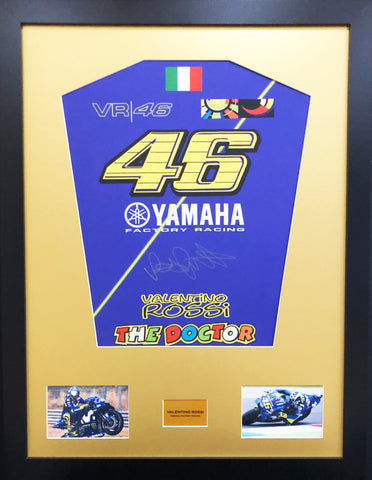 Valentino Rossi Yamaha Signed Shirt Display With COA - Kicking The Balls