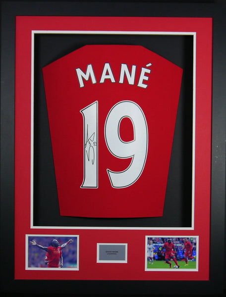 Sadio Mane Liverpool Signed Shirt 3D Display with COA