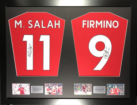 Salah and Firmino Liverpool Signed Shirt Display with COA