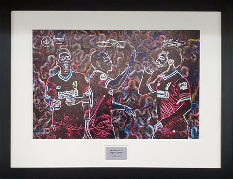 Salah, Firmino and Mane Artwork Display Limited Edition 1 of 25 with COA - Kicking The Balls