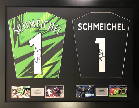 Peter and Casper Schmeichel Man United and Leicester  Signed Shirt Display with COA