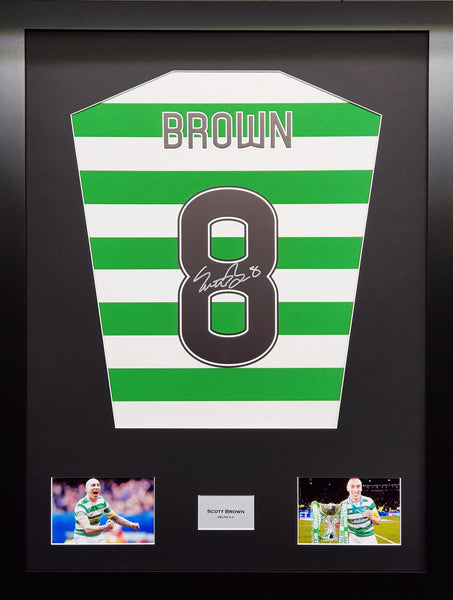 Scott Brown Celtic Signed Shirt Display with COA - Kicking The Balls