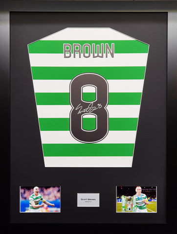 Scott Brown Celtic Signed Shirt Display with COA