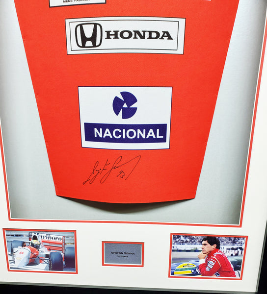 Ayrton Senna McLaren Formula 1 Signed Shirt 3D Display with COA - Kicking The Balls