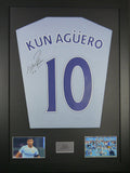 Sergio Aguero Manchester City Signed Shirt Display With COA - Kicking The Balls