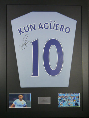 Sergio Aguero Manchester City Signed Shirt Display With COA