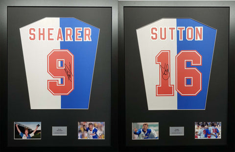 Twin Pack Chris Sutton and Alan Shearer Blackburn Rovers Signed Shirt Displays With COA - Kicking The Balls
