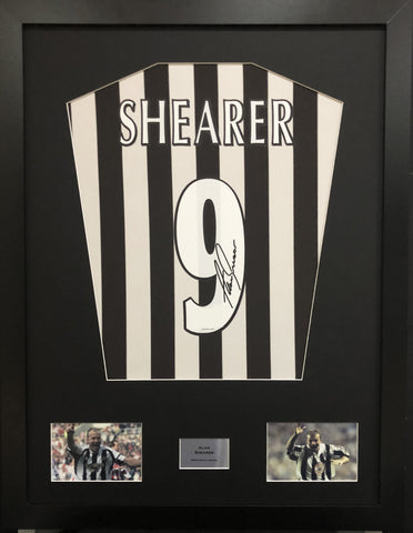 Alan Shearer Newcastle United Signed Shirt Display With COA - Kicking The Balls