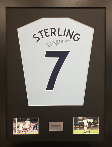 Raheem Sterling Manchester City Signed Shirt Display With COA - Kicking The Balls