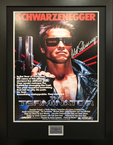 The Terminator Schwarzenegger Signed Movie Poster with COA - Kicking The Balls