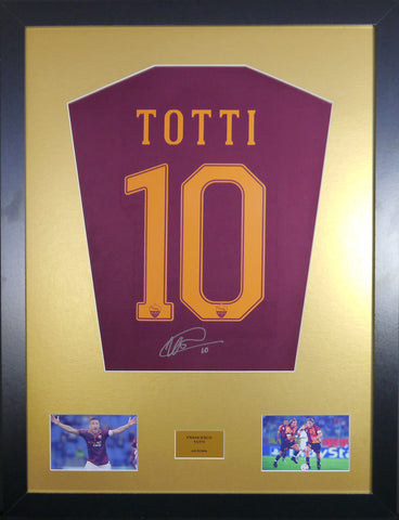 Francesco Totti Roma Signed Shirt DISPLAY