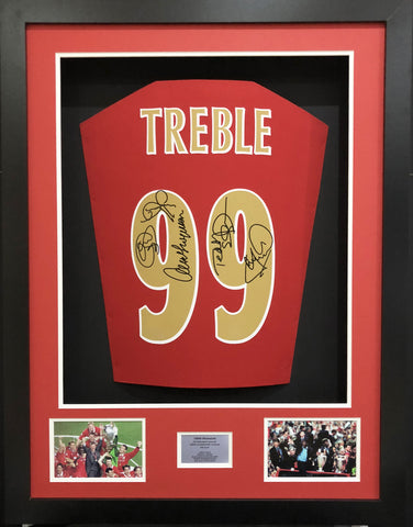 Treble 99 Manchester United Signed shirt 3D Display with COA - Kicking The Balls