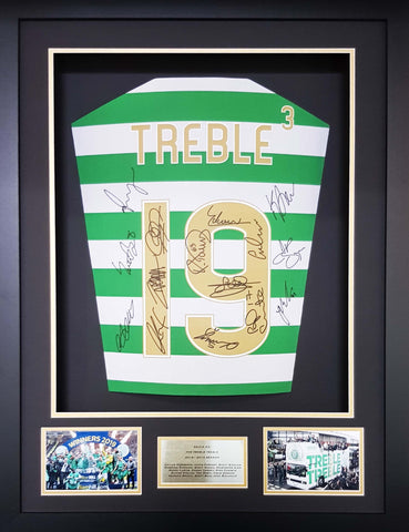Celtic Treble Treble Team signed shirt 3d display with COA - Kicking The Balls