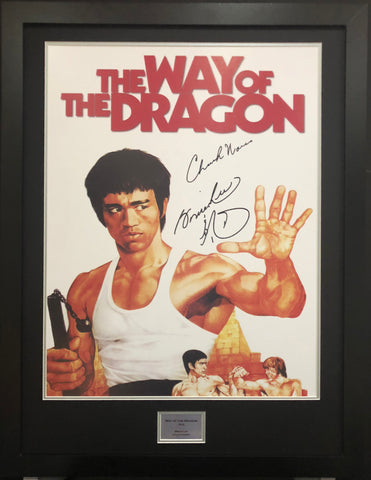Bruce Lee and Chuck Norris, Way of the Dragon Signed Movie Poster with COA - Kicking The Balls