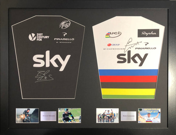 Bradley Wiggins and Mark Cavendish Team Sky and Rainbow signed double jersey display with coa - Kicking The Balls