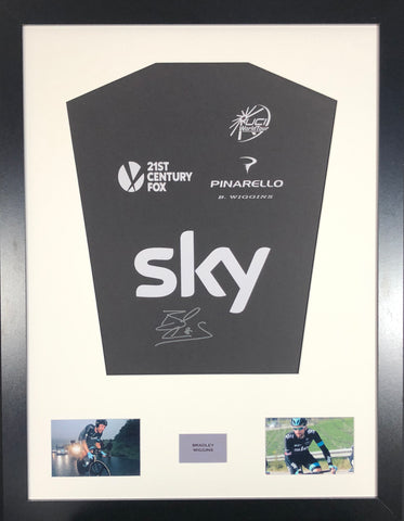 Bradley Wiggins Team Sky Signed Jersey Display With COA
