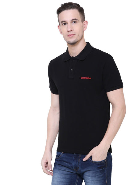 SeeandWear Men's Polo Collar Black T-Shirt - SeeandWear