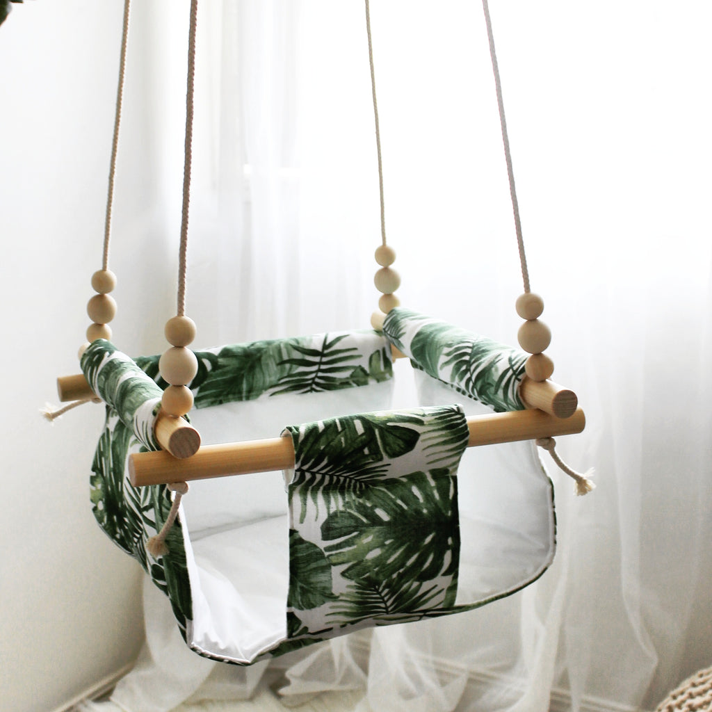 handmade fabric and timber baby swing