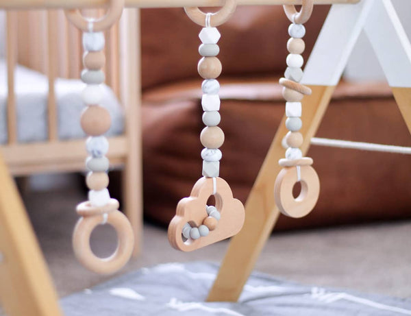 Wood and Silicone Play Gym Toys (Toys Only)