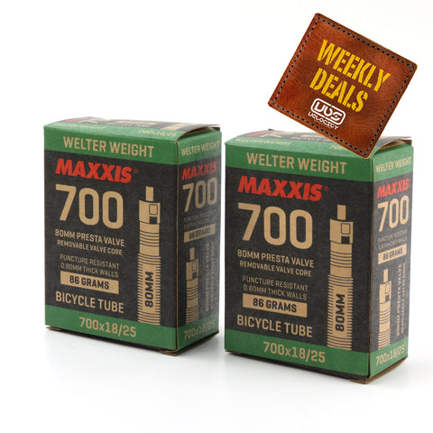 Maxxis Welterweight Tube 700x18/25,27x7/8-1 Presta 60mm BULK BUY of 10 Tubes