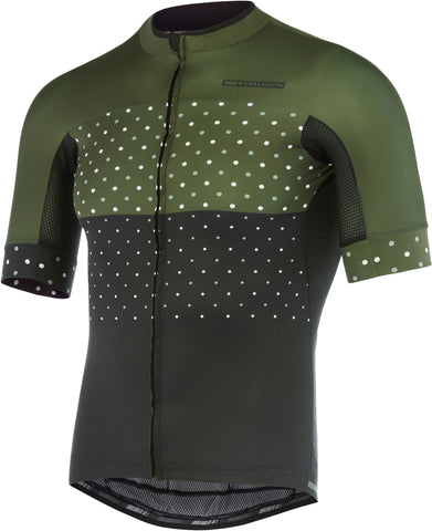 RoadRace Apex men's short sleeve jersey, black / dark olive hex dots
