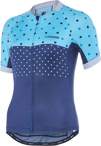 Sportive Apex women's short sleeve jersey, blue curaco / ink navy hex dots