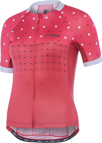 Sportive Apex women's short sleeve jersey, raspberry / rio red hex dots