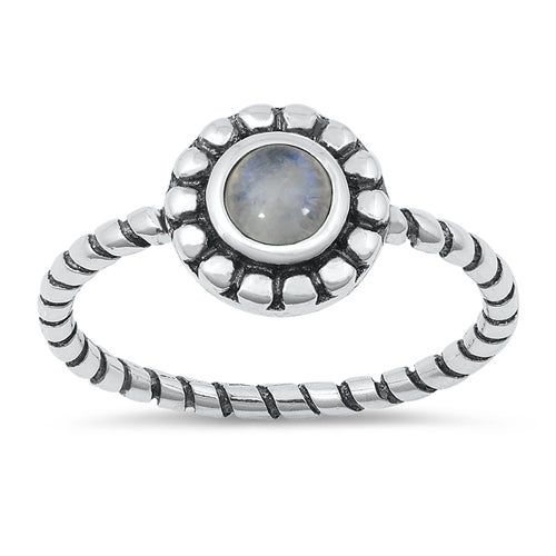 'Ava' Rainbow Moonstone Ring - Sterling Silver